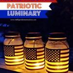 Frosted Mason Jar Patriotic Luminaries by Shirley at intelligentdomestications.com