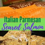 Italian Parmesan Seared Salmon easy recipe. No bread crumbs. Ready in minutes. Quick and easy seafood recipe prepared on top of the stove.#salmonrecipe #ironskilletrecipe #30minutemeal #fish #seafood