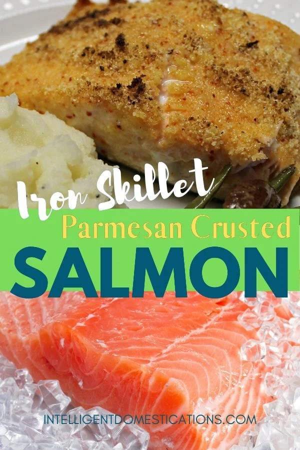 Only four ingredients needed for this lightly crusted Parmesan Italian flavored Salmon made in the Iron Skillet. Quick and easy weeknight meal idea. This salmon recipe cooks on top of the stove in a few minutes. Easy under 30 minute entree. No breadcrumbs so this is a low carb friendly recipe. #salmonrecipe #ironskilletrecipe #30minutemeal #fish #seafood