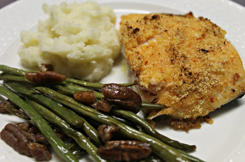 Parmesean Italian Crusted Iron Skillet Salmon dinner.www.intelligentdomestications.com