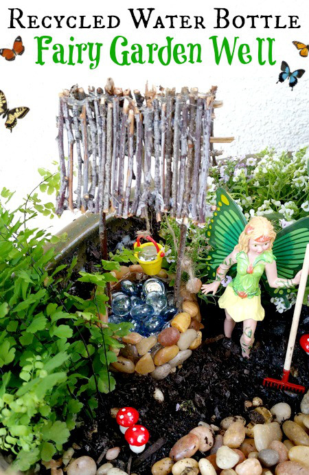 Recycled-Water-Bottle-Fairy-Garden-Well-