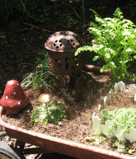 Rusty wagon fairy garden