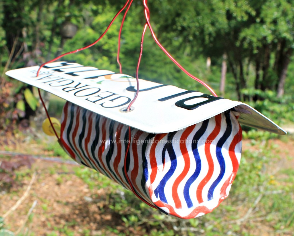 Backside of Patriotic birdfeeder.intelligentdomestications.com