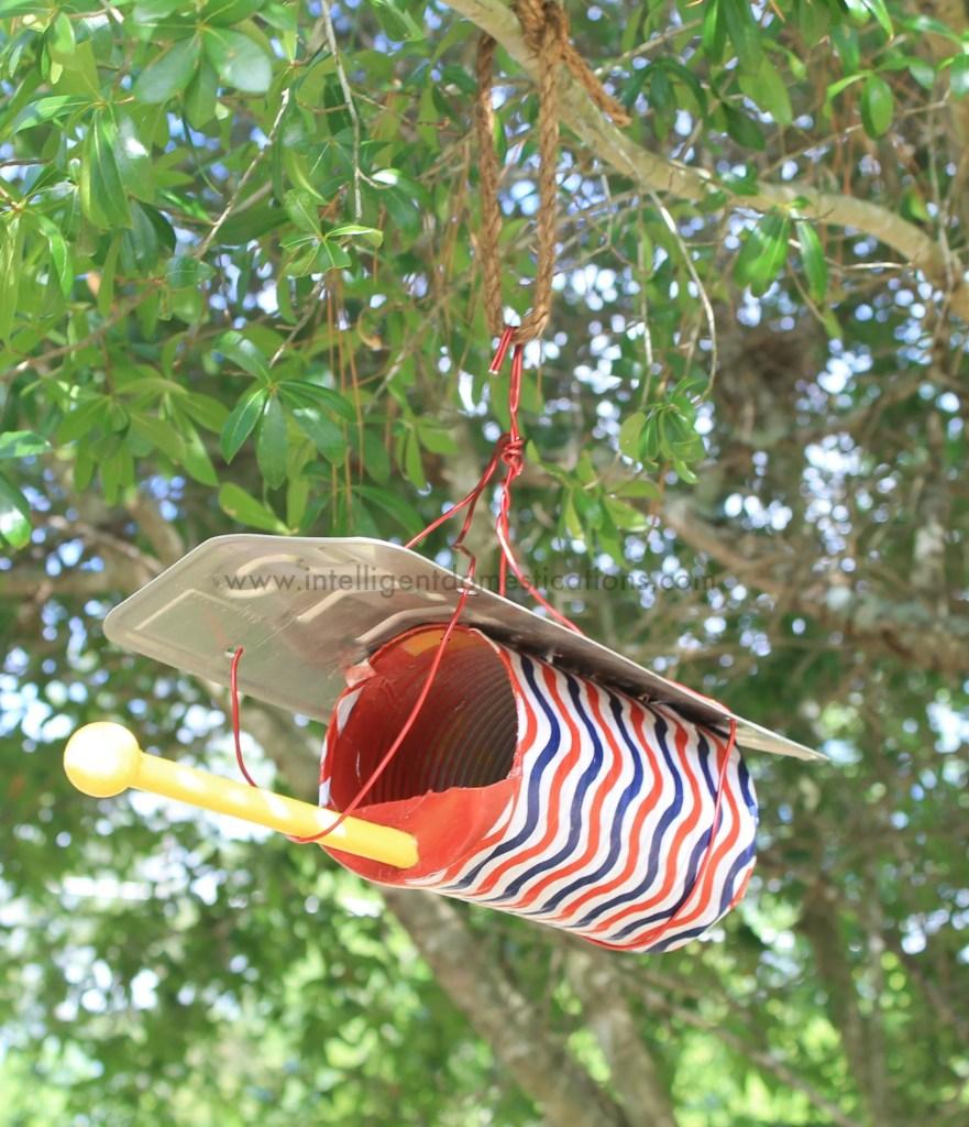 How we hung the Patriotic birdfeeder