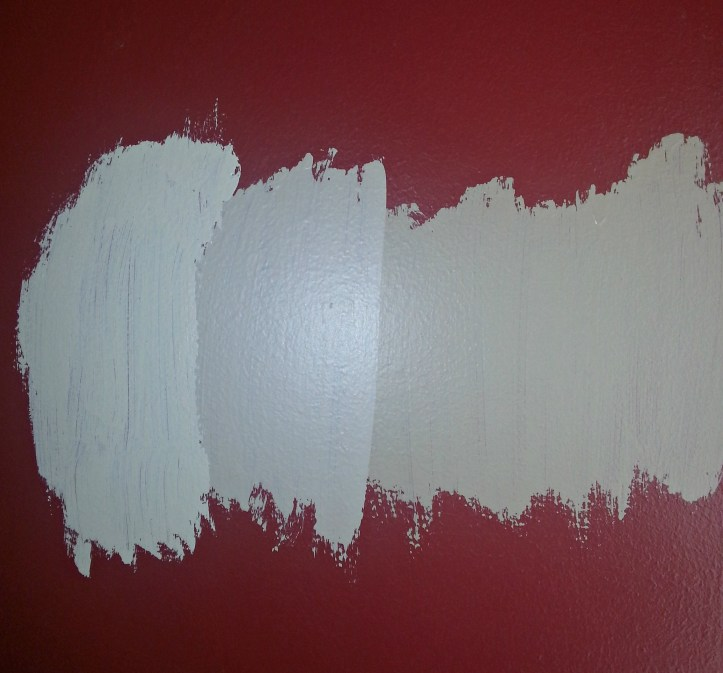 Den paint samples on the wall