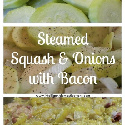 Steamed Stewed Squash and Onions with Bacon
