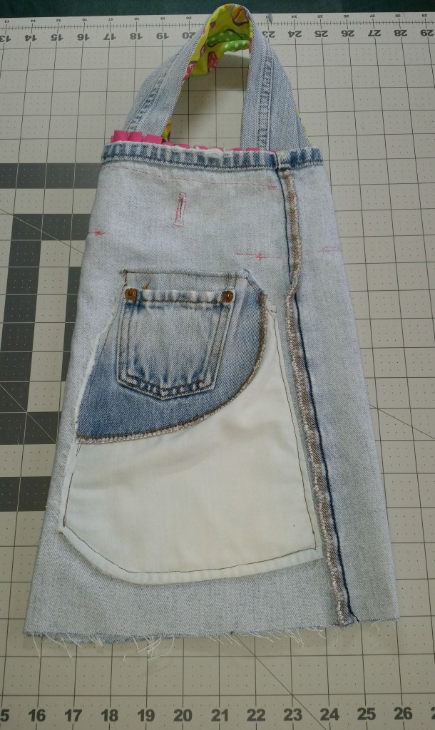 Repurposed denim jeans into a Barbie bag.www.intelligentdomestications.com
