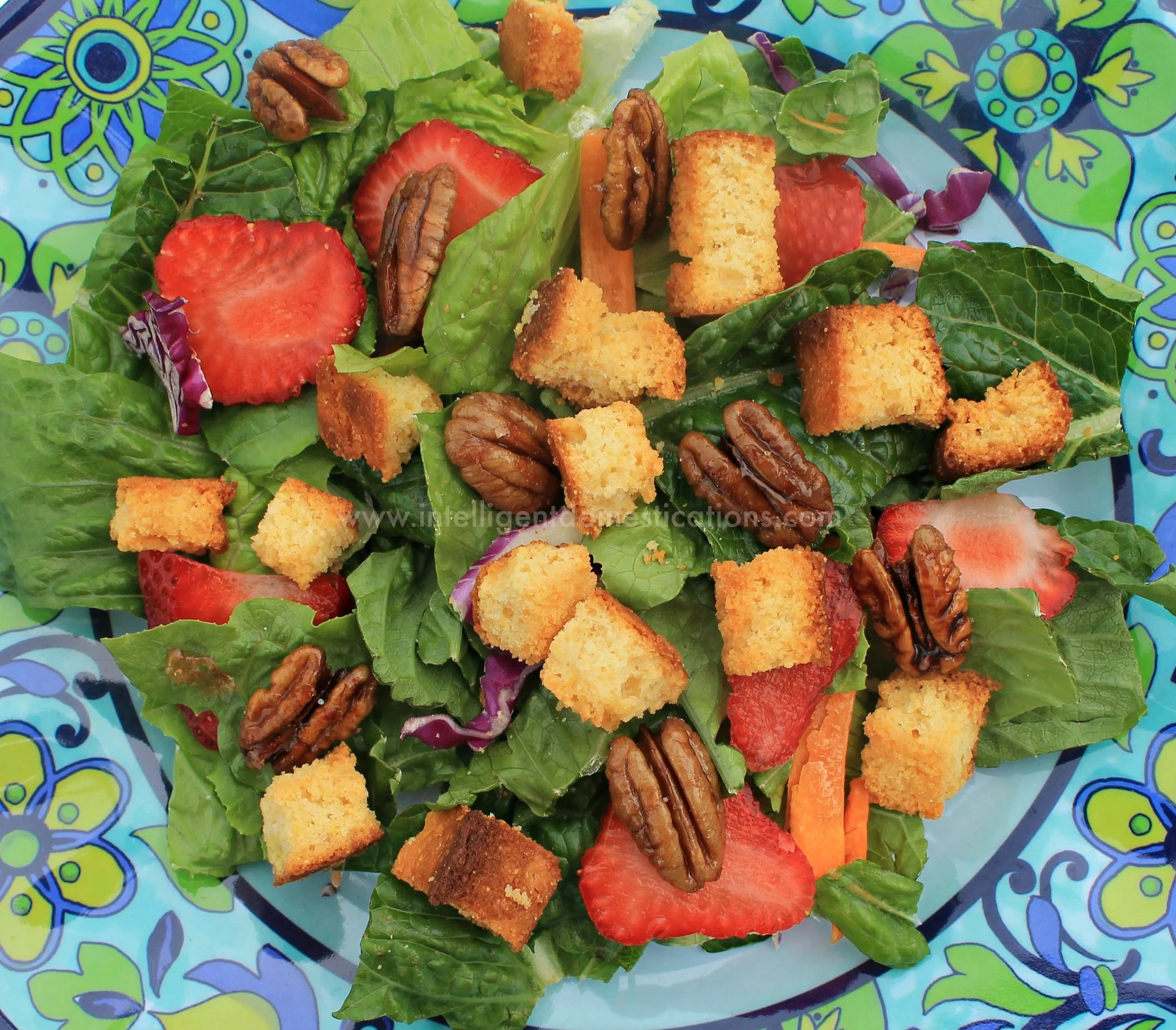 Top your salad with Sweet & Salty Candied Pecans and Cornbread Croutons for a burst of flavor. Recipes at www.intelligentdomestications.com