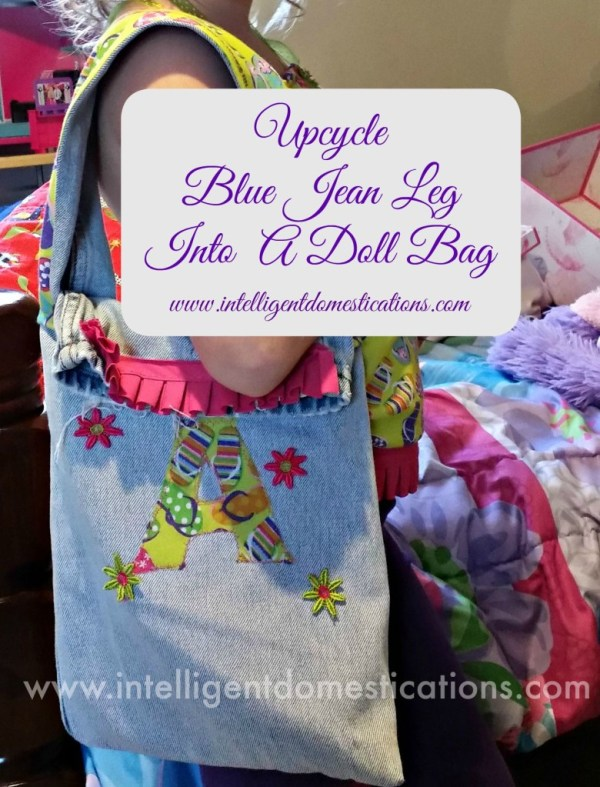 How to upcycle a blue jean leg. Sew a bag from a blue jean leg.