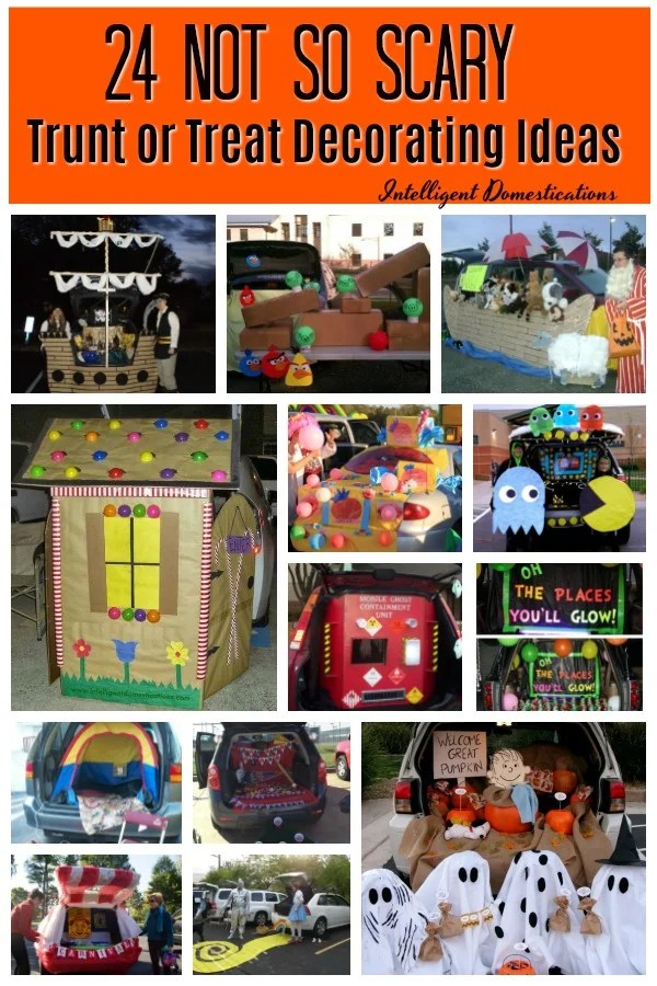 24 Not Too Scary Trunk or Treat Decorating Ideas to DIY. Many of these links have even more Trunk or Treat Idea pictures for their Church event. #trunkortreat