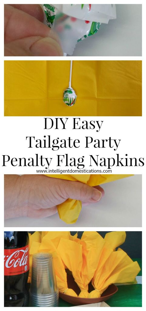 DIY easy Tailgate Party Penalty Flag Napkins tutorial.www.intelligentdomestications.com
