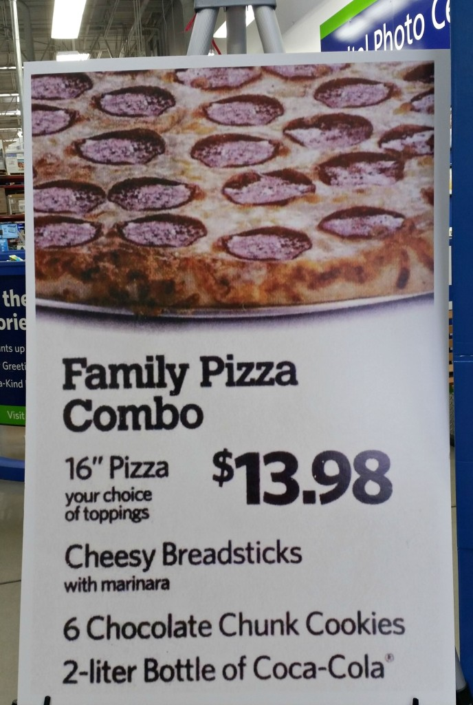 Sam's Club Family Pizza Combo sign greets you as you enter the store.intelligentdomestications.com