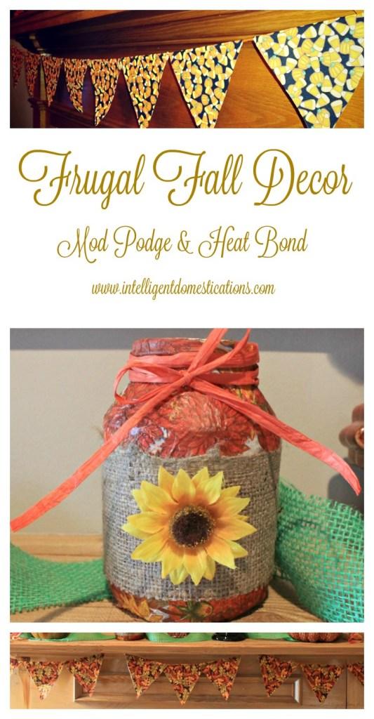 Frugal Fall Decor.Mod Podge & Heat Bond.www.intelligentdomestications.com
