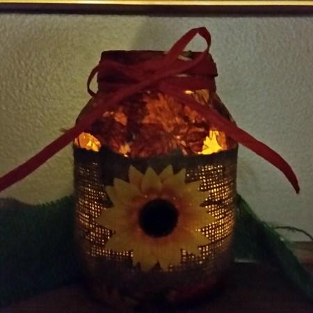 Mod Podge Fall Napkin Vase with soft candle glow.intelligentdomestications.com