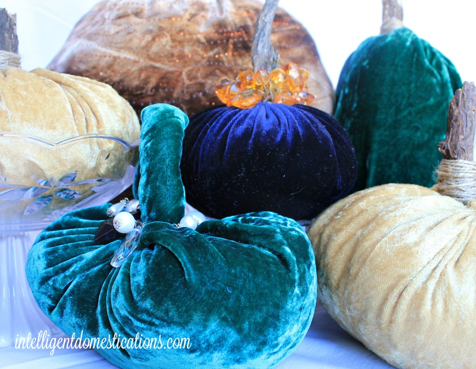 Velvet Pumpkins are a frugal Fall Decor DIY project which do involve a needle and thread but not a sewing machine. You can make these with now sewing skills.