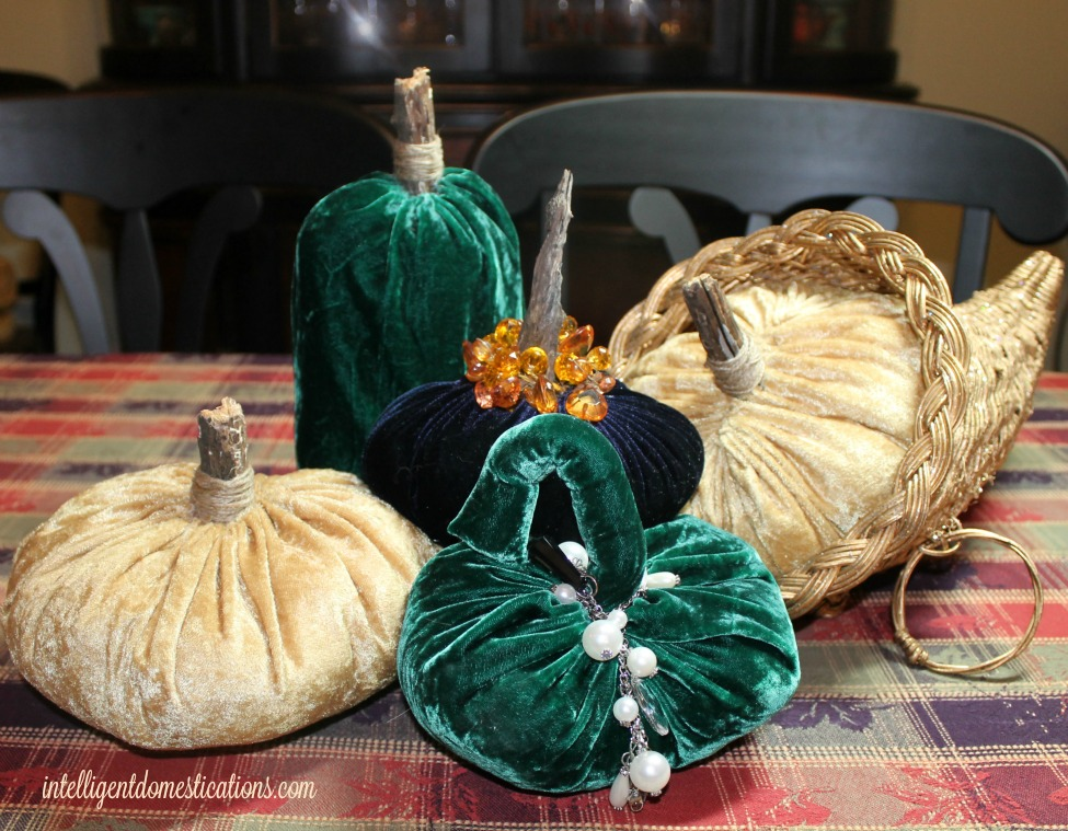 Velvet Pumpkins Table Decor at intelligentdomestications.com
