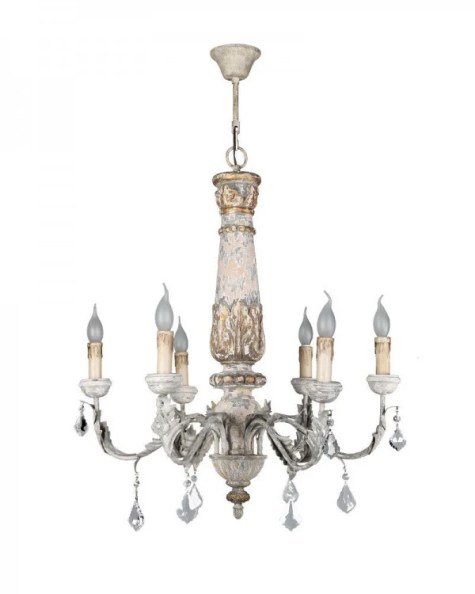 6 Light Vintage Wooden Chandelier with Crystal Decorations at Parrot Uncle