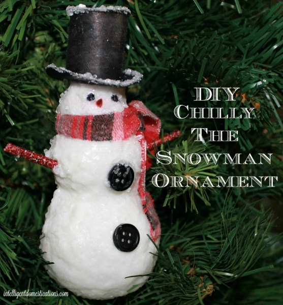 DIY Chilly The Snowman Ornament is a Dollar Store and upcycle craft using Mod Podge and Epsom salts. See the tutorial and make your own .intelligentdomestications.com