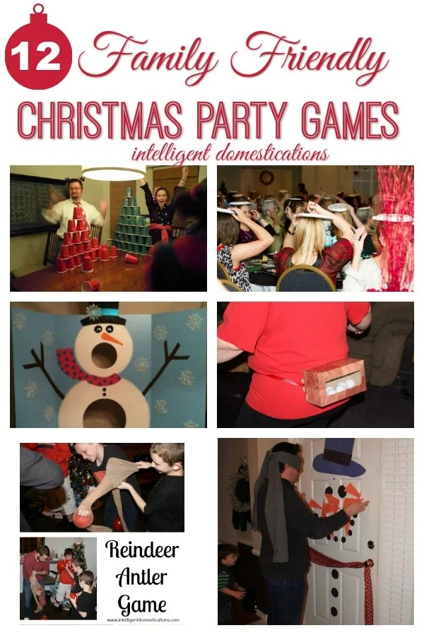 12 Family Friendly Christmas Party games for all ages. Get ready to laugh! These games are tons of fun for children and adults. Relay Games. Timed games. #familygames #games #partygames #Christmas #Christmasparty #partyideas