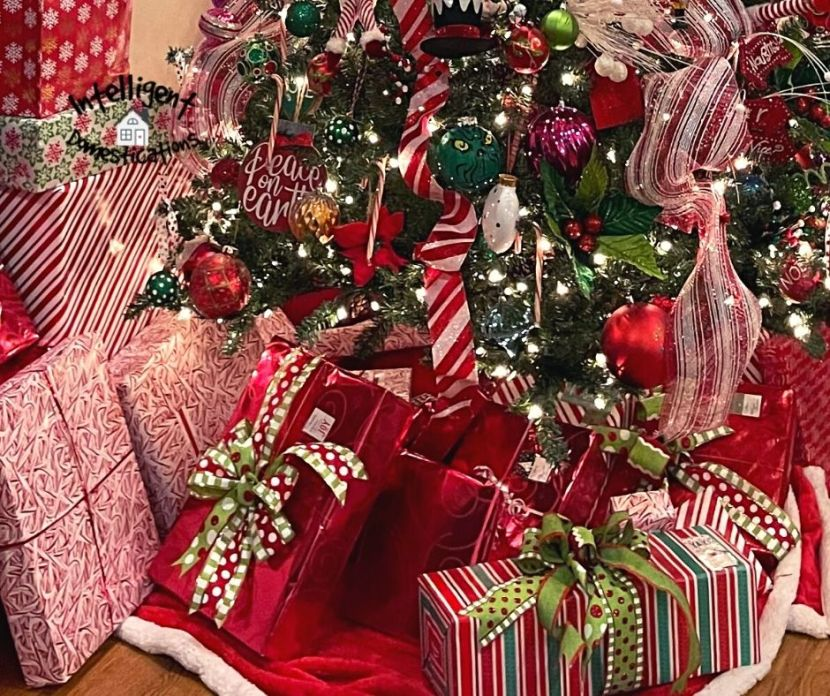 Gifts wrapped under a Christmas tree in paper that matches the tree decorations