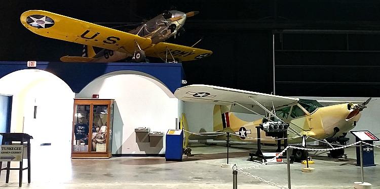 Airplanes on exhibit at Warner Robins Ga. Museum of Aviation World War II building