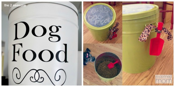 Popcorn Tins repurposed into dog food containers