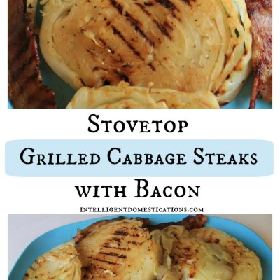 Stovetop Grilled Cabbage Steaks with Bacon
