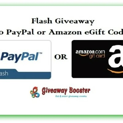 Flash Giveaway! $50 USD Paypal Cash or Amazon Gift Card