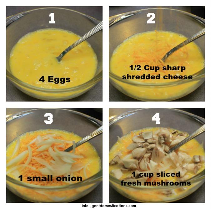 French Loaf Breakfast Omelet Steps 1 thru 4.ingelligentdomestications.com
