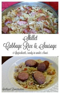 Skillet Cabbage, Rice and Sausage. One Dish Dinner Recipe ready in under one hour at intelligentdomestications.com