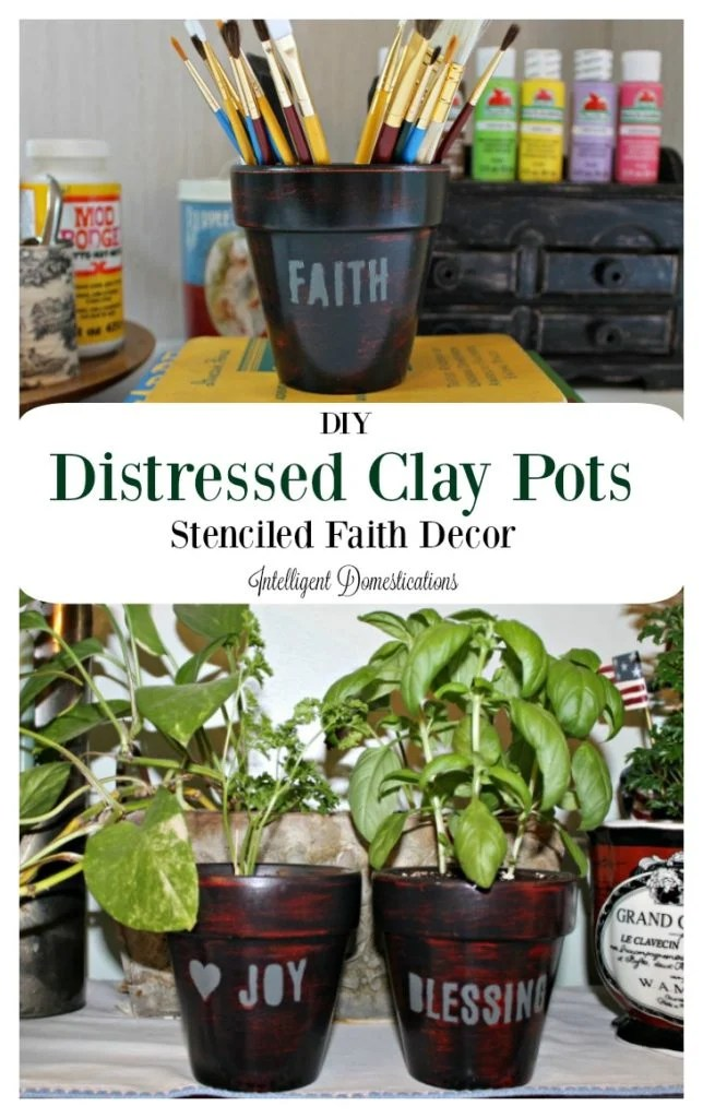 My DIY Distressed Clay pots tutorial is super easy. It's easy to DIY your own faith decor with paint and stencils