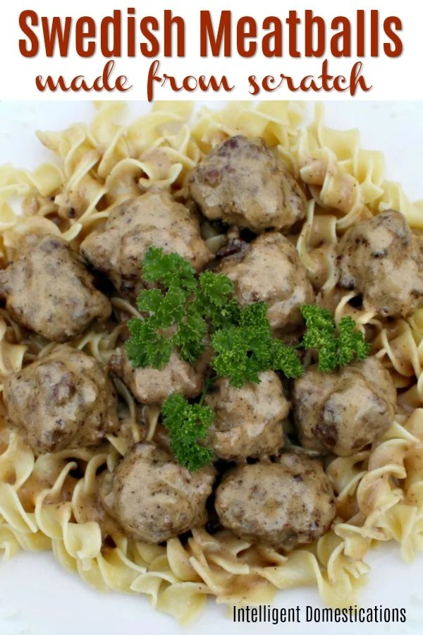 Easy Swedish Meatballs recipe made from scratch with only 8 ingredients. A delicious recipe for easy homemade meatballs and gravy. These meatballs freeze well to use later. #meatballs #groundbeefrecipe