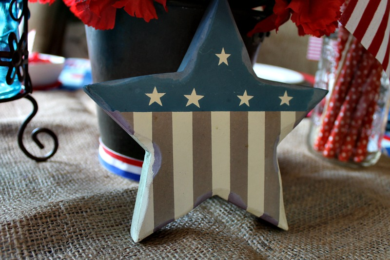 Faded Patriotic wood star is part of my Patriotic tablescape