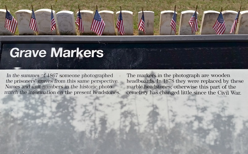 Grave marker historial information at Andersonville Civil War prison camp