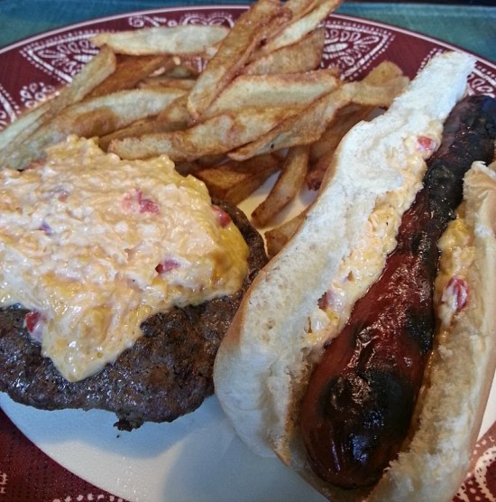 Grilled Pimento Cheese Burgers. Photo of Grilled Pimento cheese burger, hot dog and fries