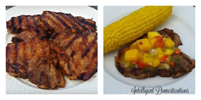Grilled Pork chops with Peach Mango Salsa and Grilled Corn on the cob is what's for supper!