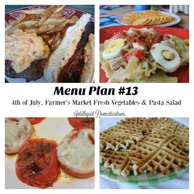Farmer's Market Fresh Vegetables & Menu Plan #13