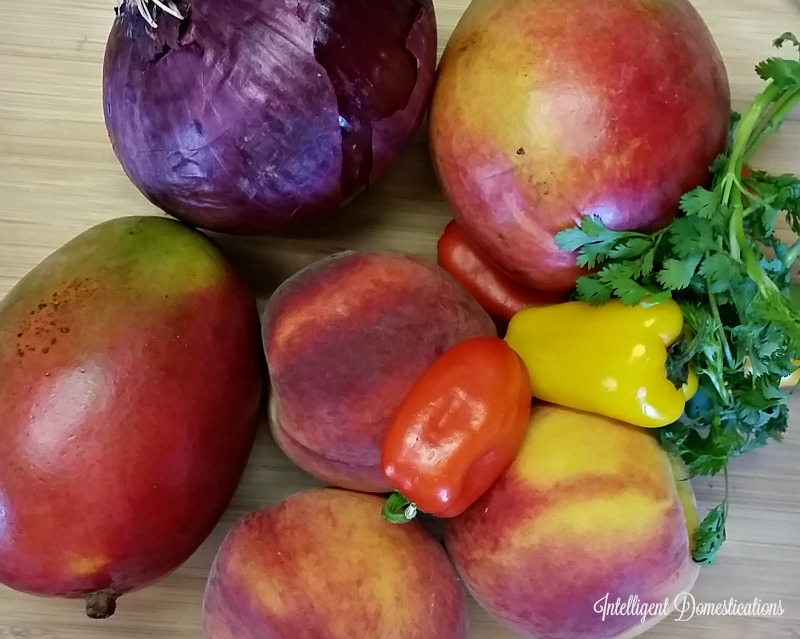 Peach Mango Salsa farm fresh ingredients