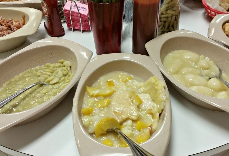 Butter beans, Peach Cobbler and Whole New Potatoes at Buckner's Family Restaurant in Jackson, Ga. jpg