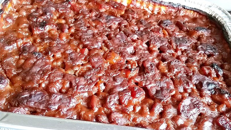 baked beans in a disposable aluminum pan