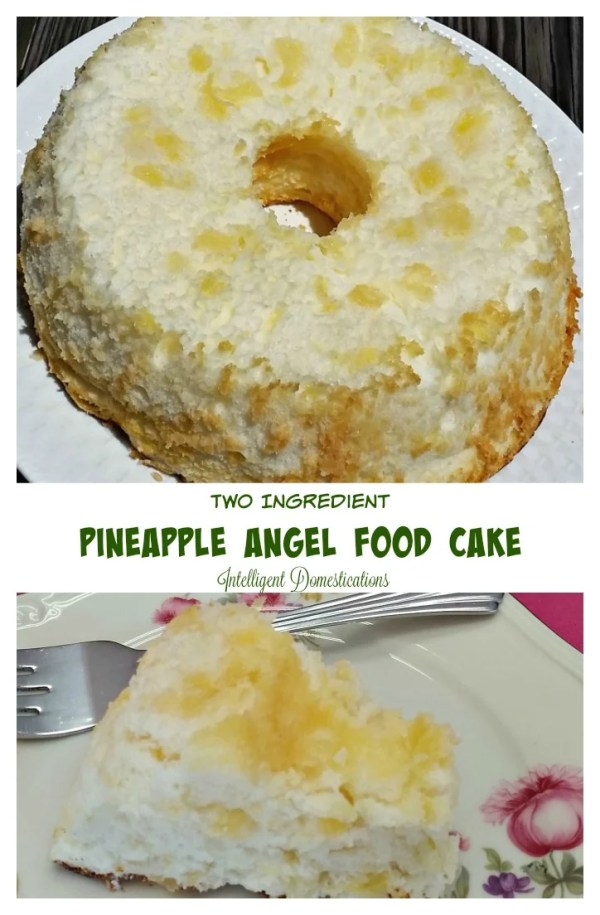 Pineapple Angel Food Cake easy recipe with only 2 ingredients. You read that right, make this dessert with only 2 ingredients! #dessert #easydessert #angelfoodcake
