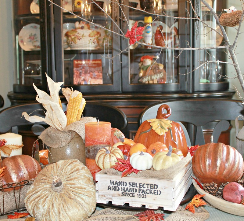 Use a Farmhouse Style stencil to make over a wood crate for your Fall Farmhouse Style Tablescape