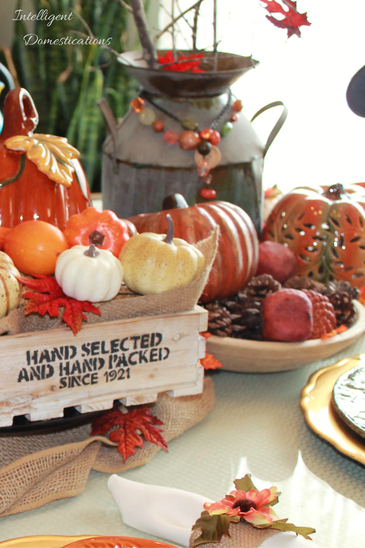 Our Farmhouse Style Fall Tablescape was made using what we have along with a couple of easily crafted items with the tutorial included. #PledgeReflectionsOfYou