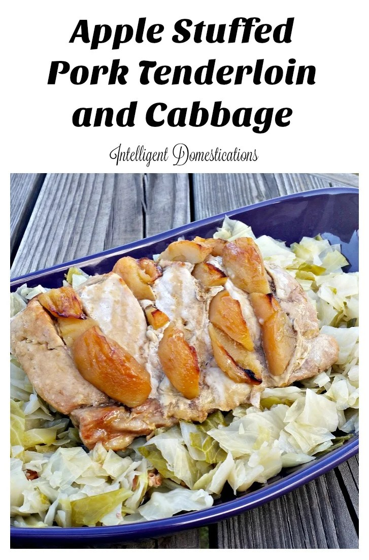 Slow Baked Apple Stuffed Pork Tenderloin recipe. How to bake a pork tenderloin. Pork Tenderloin recipe. Cabbage and pork. Cooking with apples. Apples, Cabbage and Pork dish. #cabbage