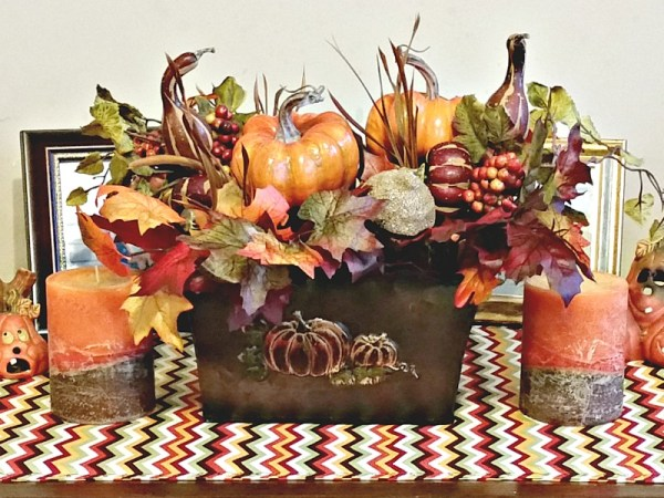 Fall Vignette Craft Projects. Sew a simple runner. Create your own floral centerpiece