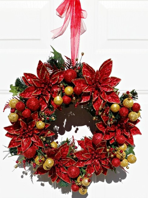 How to make a poinsettia wreath using floral picks