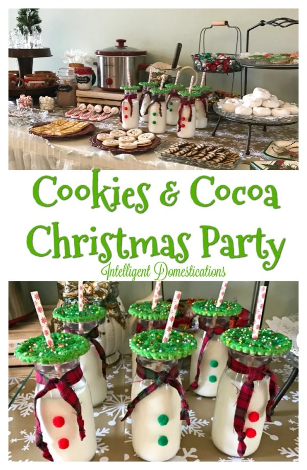 Christmas Party Theme Idea. Cookies and Cocoa Christmas Party. Cookie Christmas party food and decor ideas. #christmasparty #cookiesChristmasparty