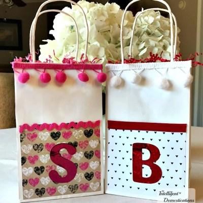 DIY Monogrammed Valentine Gift Bags