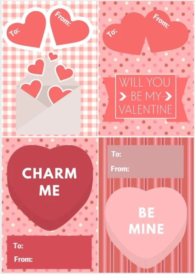 Free Printable Valentine's Day Cards. Enjoy these free printable pretty pink Valentine's Day cards courtesy of Intelligent Domestications. #valentines