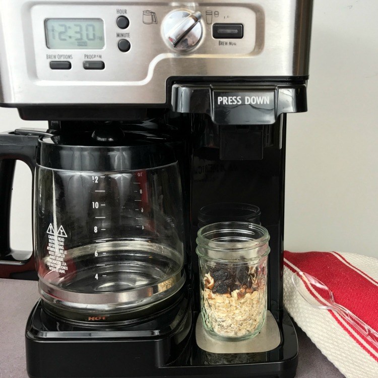 Mason Jar Oatmeal made with hot water from the office coffee maker. Nice breakfast hack for a healthier breakfast